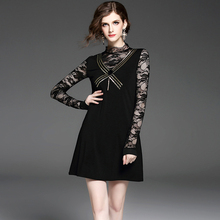 2017 spring high quality new women's Europe and the United States sexy lace dress Slim thin black dinner lady A word dress