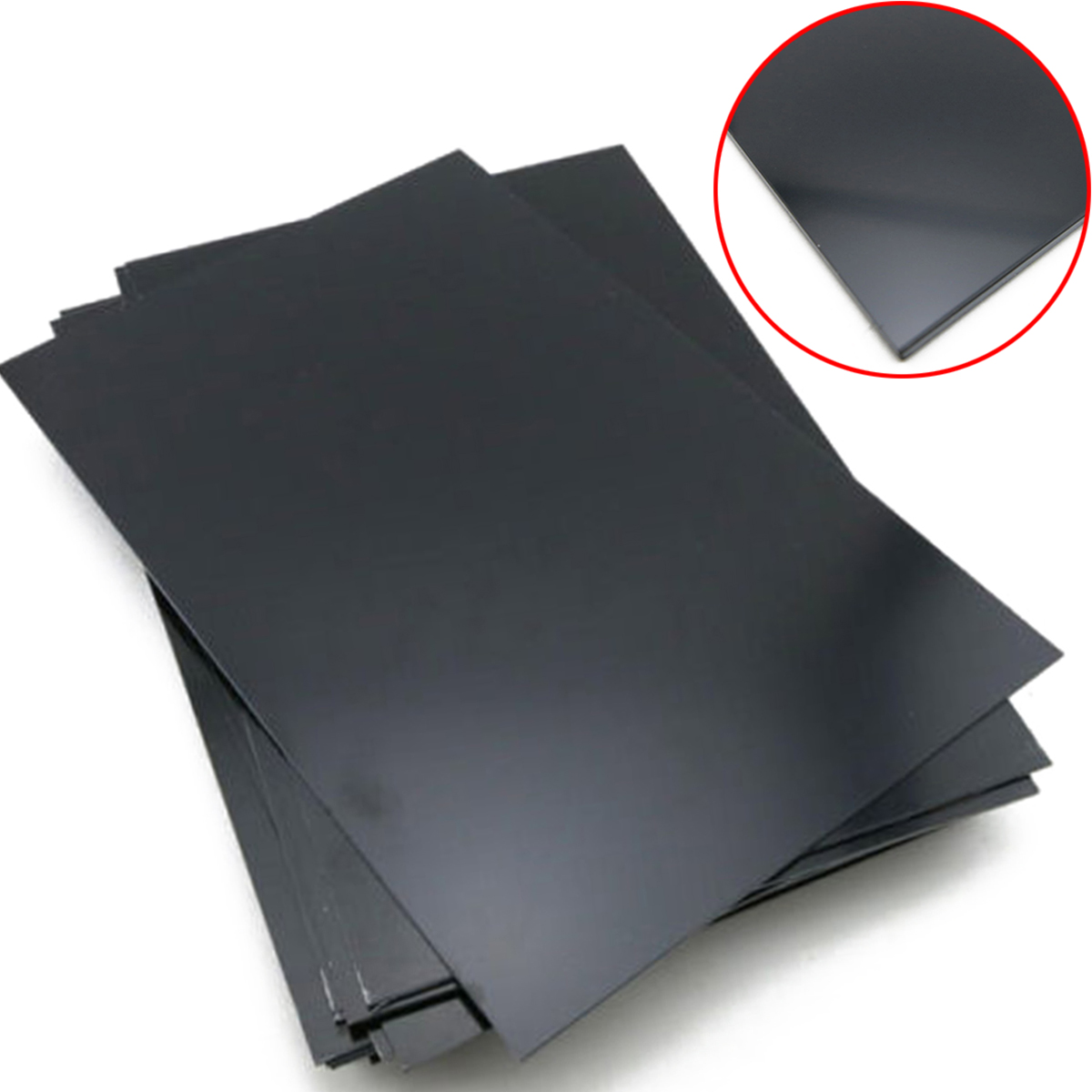 1pcs New  0.5mm Thickness Durable Black ABS Styrene Plastic Flat Sheet Plate