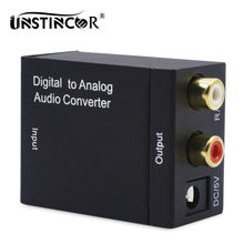 UNSTINCER Digital to Analog Audio TV Converter Optical Toslink Spdif to Coaxial Audio Adapter RCA L/R 3.5mm with Optical Cable