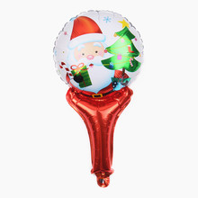 XXPWJ Free Shipping Hot Sale Mini Handheld Santa Claus and Christmas Tree Self Sealed Aluminum Foil Balloon wholesale D-050(China)