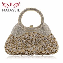 Natassie Luxury Flower Crystal Evening Bags Special Design Handbag Girl's Party Purse Wedding Clutch Shoulder With Chain Gold(China)