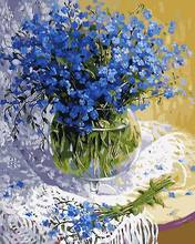 Frameless canvas painting by numbers diy painting diy picture oil painting on canvas for home decor 4050 blue flower