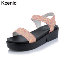 Kcenid Plus size 33-44 glittering wedges gladiator sandals new summer soft shoes open toe thick bottom pink sandals for women