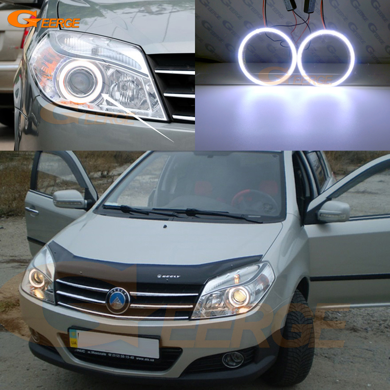 For Geely MK Cross 2010-2014 headlight Excellent angel eyes Ultra bright illumination COB led angel eyes kit<br>