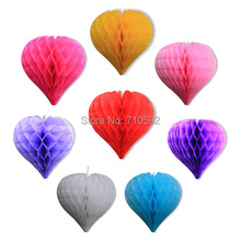 "8""(20cm) Heart Shaped Honeycomb Balls/ Lanterns Love Tissue Paper Honeycombs Wedding Decoration Home Party Valentine Gift(China)"