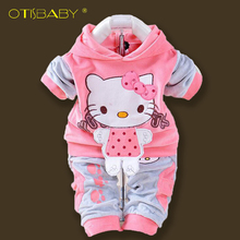 OTISBABY 2PCS Newborn Hello Kitty Baby Boy and Girl Clothes Hoodies Pants Infant Baby Clothing Set for Newborns Infantil Menina(China)
