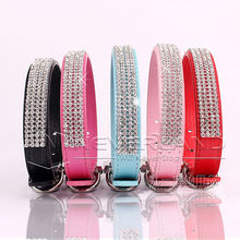Bling Dog Collar PU Leather Rhinestone Diamante Pet Puppy Cat Fashion Necklace Black Red Pink Blue(China)