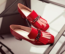 Fashion Red Patent Leather Thick Low Heels Dress Shoes Chains Tassels Women Summer Shoes!