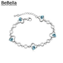BeBella 5 colors heart bracelet made with Swarovski Elements