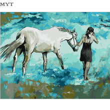 MYT Landscape Girl Holding The Horse Pictures Painting By Numbers Painting and Calligraphy DIY Coloring By Numbers on Canvas(China)