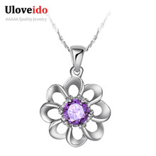 Fashion Necklaces for Women 2016 Crystal Silver New Flower Necklace Gift Necklaces & Pendants Accessories Jewelery Uloveido N033