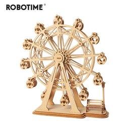 Robotime DIY 3D лазерная резка деревянное колесо обозрения головоломка подарок для игры для детей Детская модель строительные наборы Популярная ...
