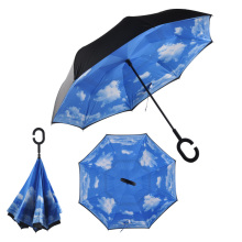 Windproof Reverse Folding Double Layer Inverted Umbrella Self Stand Inside Out Rain Protection C-Hook Hands for Women Children