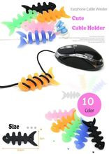 Wholesale 100pcs New Stylish High Quality Fish Silicone Auto Cable Cord Wire Organizer Bobbin Winder For Phone Earphone USB(China)