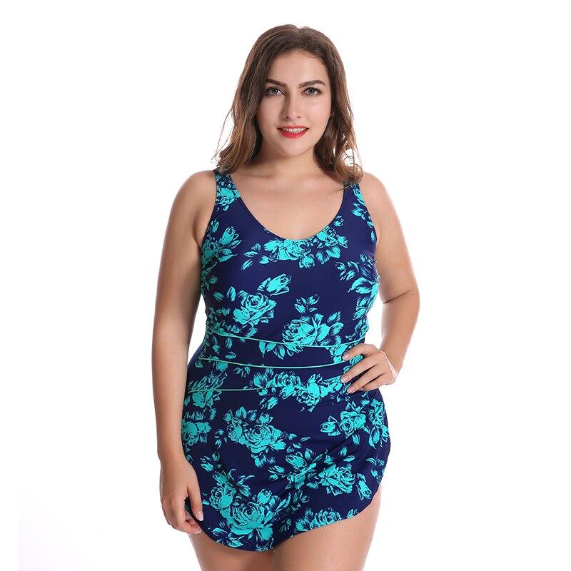 2017 Plus Size Swimwear Swimsuit Flower Printed Women Summer Swimdress One Piece Bodysuit Bathing Suits Beachwear<br>