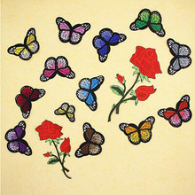 Fabric Embroidered Rose Butterfly Patch Cap Clothes Stickers Bag Sew Iron Applique DIY Apparel Sewing Clothing Accessories BU63