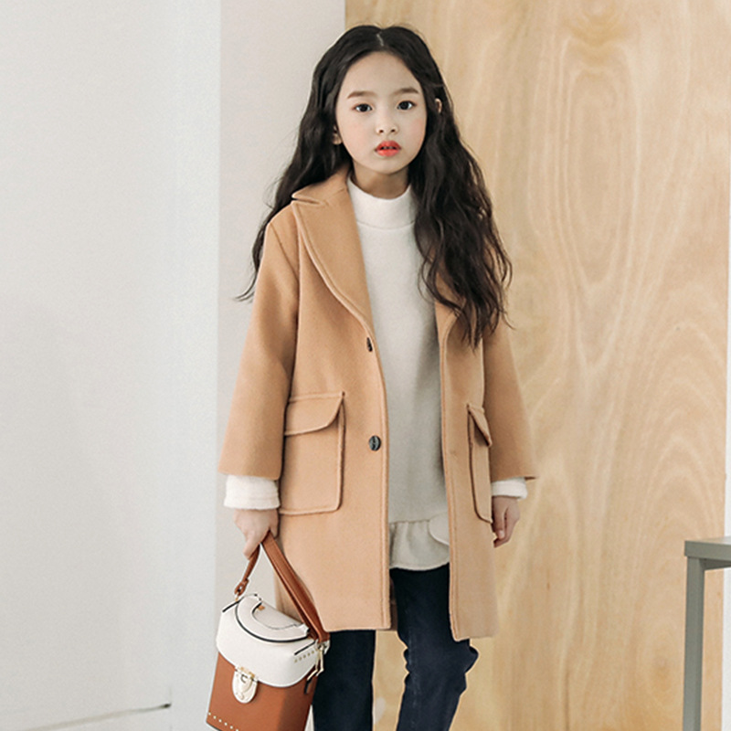 2019 New Year Autumn Winter Long Jacket Girls Fashion Thickening Large Wool Coat Jacket Clothes For 5 6 7 8 9 10 11 12 13 Years