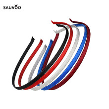 Sauvoo 5pcs/lot Colorful Satin Ribbon Covered Hairbands Hair Hand Band For Girls Baby Women DIY Jewelry Making Material F1847