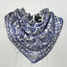 90*90cm White And Blue 100% Mulberry Big Square Silk Scarves Printed,Fashion Hot Sale 100% Silk Crepe Satin Scarf Shawl(China)