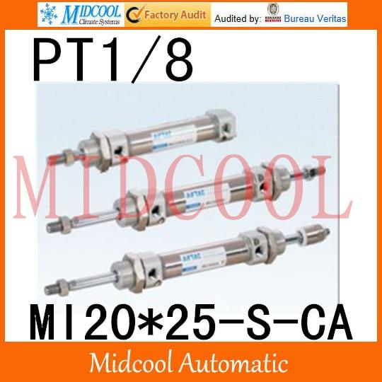 MI Series ISO6432 Stainless Steel Mini Cylinder  MI20*25-S-CA  bore 20mm port PT1/8<br>