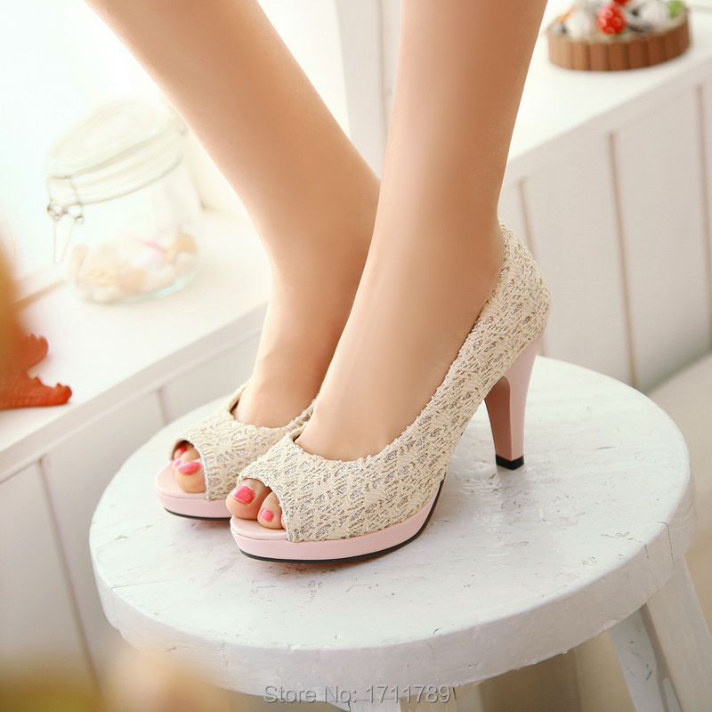 New Fashion Women Pumps Peep Toe Shoes High Heels Summer Lace Platform small big size 32-43 Party Wedding Sandals 0030<br><br>Aliexpress