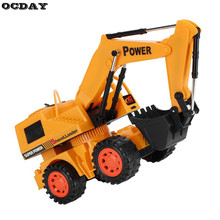 RC Cars Wireless Stunt Remote Control 5 Channel Engineering Vehicle Electric Digging Excavator Bulldozer Machine Children's Toys(China)