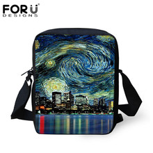 FORUDESIGNS History Of Art Famous Painting Mini Messenger Bag for Women Da Vinci/Van Gogh Ladies Crossbody Bags Child Kids Gifts(China)