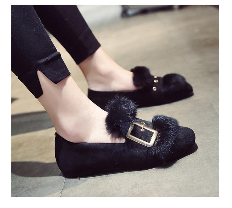 HXRZYZ Plush flat shoes women Casual fashion ladies shoes flats new metal square buckle flats fur casual shoes women