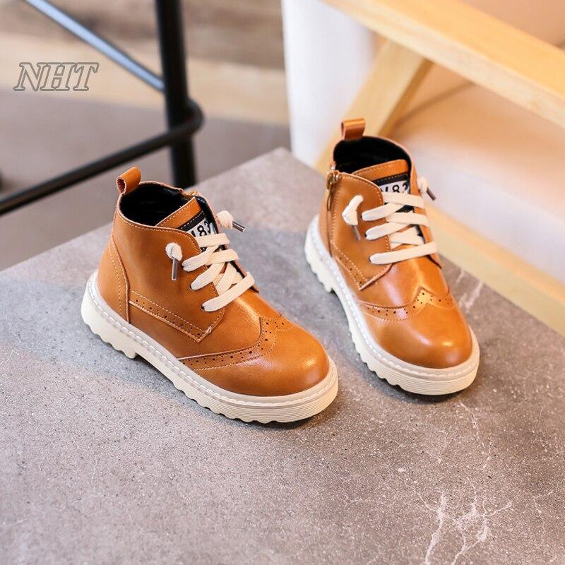 exclusive designer shoes children British stylish girls boots unisex boy footwear kid ankle casual shoe 26~37 size in black<br>