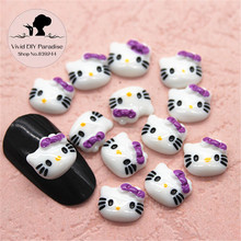 8*9MM 20pcs Cute Hello Kitty Purple Bow Resin Flatback Cabochon DIY Nail Art Decoration Accessories(China)