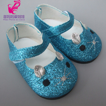 "18"" 45CM American Girl Gliter Pink Blue Color 7cm Cute Animal Mouse Doll Shoes for 43CM Zapf Reborn Baby Doll Shoes"