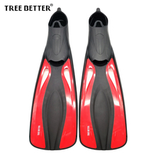 TREE BETTER Diving Fins Snorkel Professional Swimming fins for adults Flexible long Foot Submersible Flipper Training Red XS XL