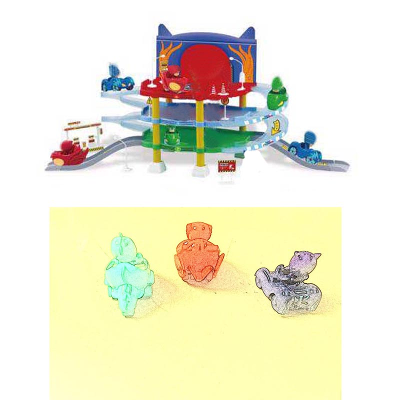 Les Enfants PJ 3 Floor Parking Lot Maskmm Toy Cartoon Connor Greg Amay Track Jouet Action Figure Model Toys Kids Christmas Toy<br>