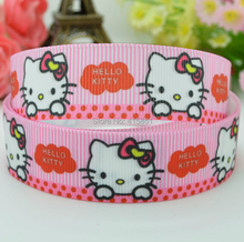 7/8'' (22mm) Ribbon Lovely Hello Kitty ribbon printed grosgrain ribbon DIY accessories Gift tied 100 yards/roll(China)