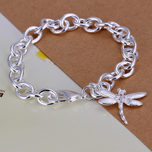 Hot Sale Top Quality Bracelets for Women Sliver-Plated Chain Jewelry Dragonfly Pendant Silver Bracelet H282 Offer Wholesale
