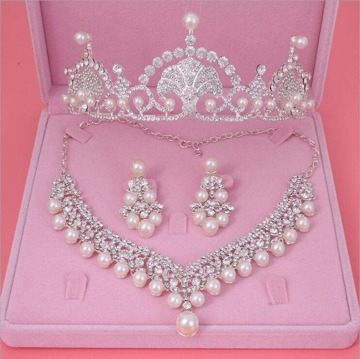 Womens Crystal Pearl Jewelry Hair Crown Headpiece Necklace Pendant Earrings Sets (5)