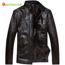 ACTIONCLUB Men Motorcycle Leather Jackets Men Autumn and Winter PU Leather Clothing Plus Velvet Men Leather Jackets