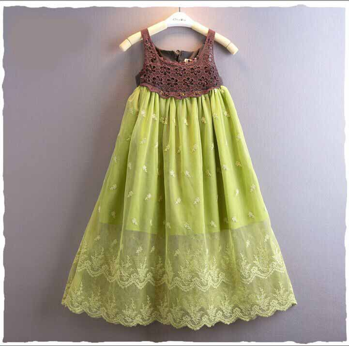 Girl dress summer cotton lace vest dress casual Bohemia beach party dress 3-10Y toddler girls clothes<br><br>Aliexpress
