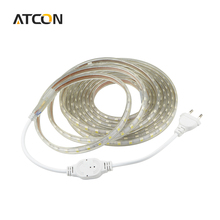 AC 220V Silicone Tube Waterproof 5050 SMD LED Strip light Tape 1M/2M/3M/4M/5M/6M/7M/8M/9M/10M/15M/20M 60LEDs/M + EU Power Plug