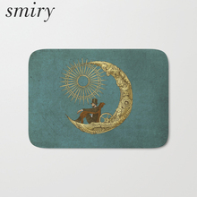 Smiry dust proof welcome home hallway light door mats creative vintage moon mat thin soft flannel waterproof bedroom bedside rug