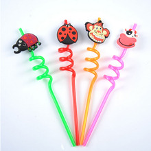 Lovely Cartoon animal Candy color Drinking Straw Kids Children Birthday Party Supplies Wedding Decoration spiral bending Straws