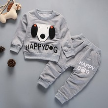 Kids Winter Clothes Happy Dog Print T-shirt Set Comfortable Warm Boys Children Clothing Girl Winter Clothes Kids
