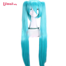 L-email wig New Women 95cm/37.4inches Light Blue Cosplay Wigs Long Clip On Ponytail Synthetic Hair Perucas Cosplay Wig