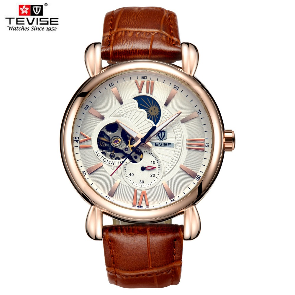 TEVISE Skeleton Automatic Watch Men Moon Phase Luminous Mechanical Watches Water Resistant Leather Man Mechanical Wrist Watch<br>
