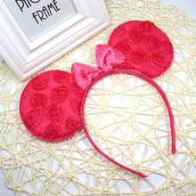 Lovely Pink Minnie Mouse Ears Headband Polka Dot Bow Kids Birthday Party Decorations Favors Hairbands