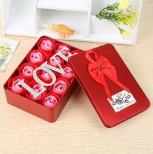 12Pcs/Box Romantic Rose Soap Flower With love and metal box, Great For Valentine's Day Gifts/ Wedding Gift/birthday Gifts(China)