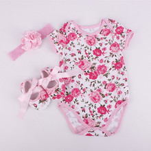 Baby  girl clothes clothing sets girl clothes Hair band three-piece rose pattern (Short sleeve romper suit + hair band+ shoes)
