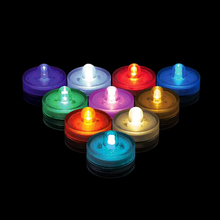 12*Colors Available Waterproof Underwater 2pcs CR2032 Battery Powered Submersible LED Tea Lights Candle for Wedding Party Decor