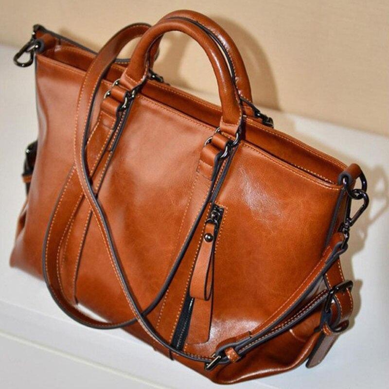 Fashion Handbag Lady Shoulder Bag Tote Purse Oiled Leather Womens Messenger New<br><br>Aliexpress