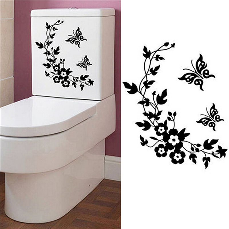 Butterfly Flower Toilet Seat Sticker Bathroom Home Wall Art Stickers Decals CO